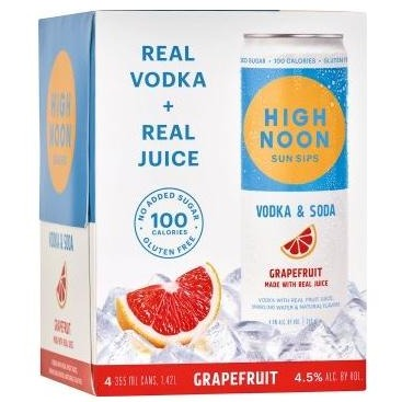 High Noon Sun Sips Vodka & Soda Grapefruit 355ml Can 4 Pack