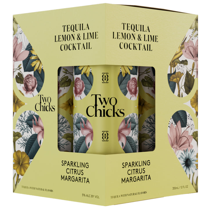 Two Chicks Sparkling Citrus Margarita Cocktail 12oz Can 4 Pack