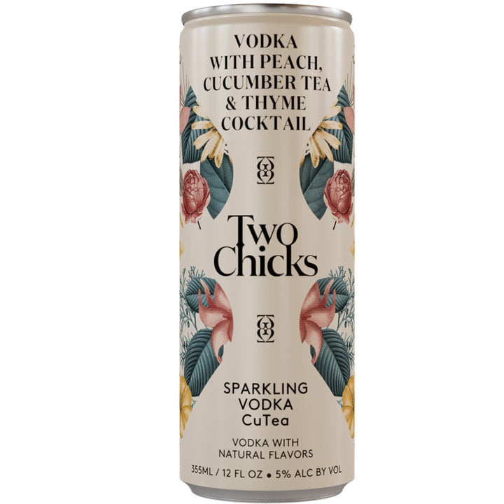 Two Chicks Sparkling Vodka CuTEA Cocktail 12 oz Can