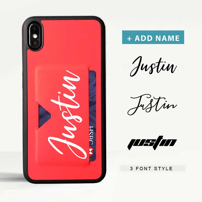 Custom Premium PU iPhone Card Case with Name