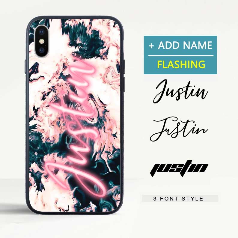 Custom Flash Led Art Marble iPhone Case with Name - icreatifes
