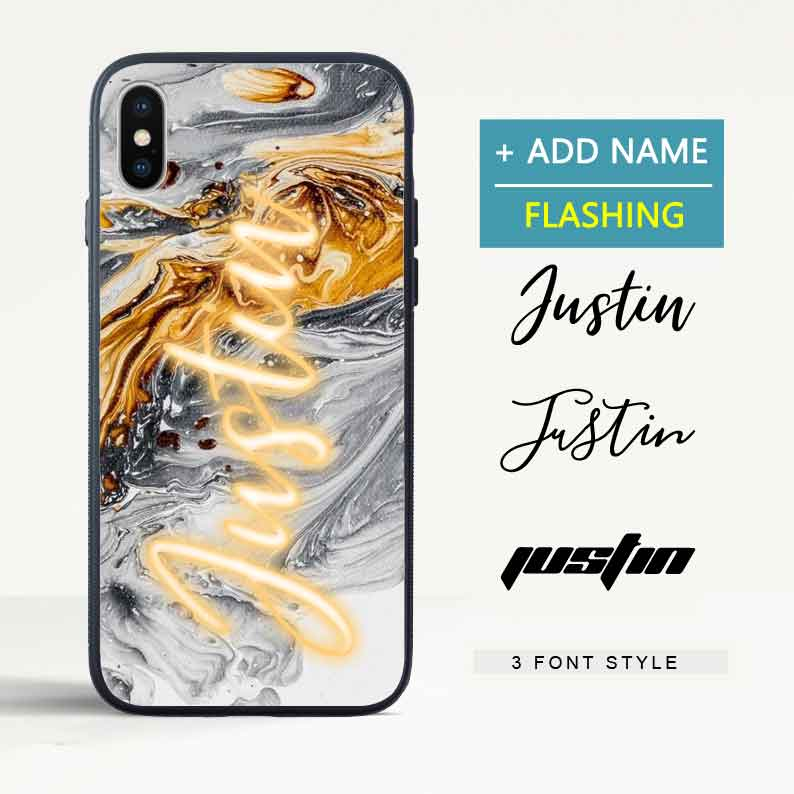 Custom Flash Led Black White Gold Marble iPhone Case with Name