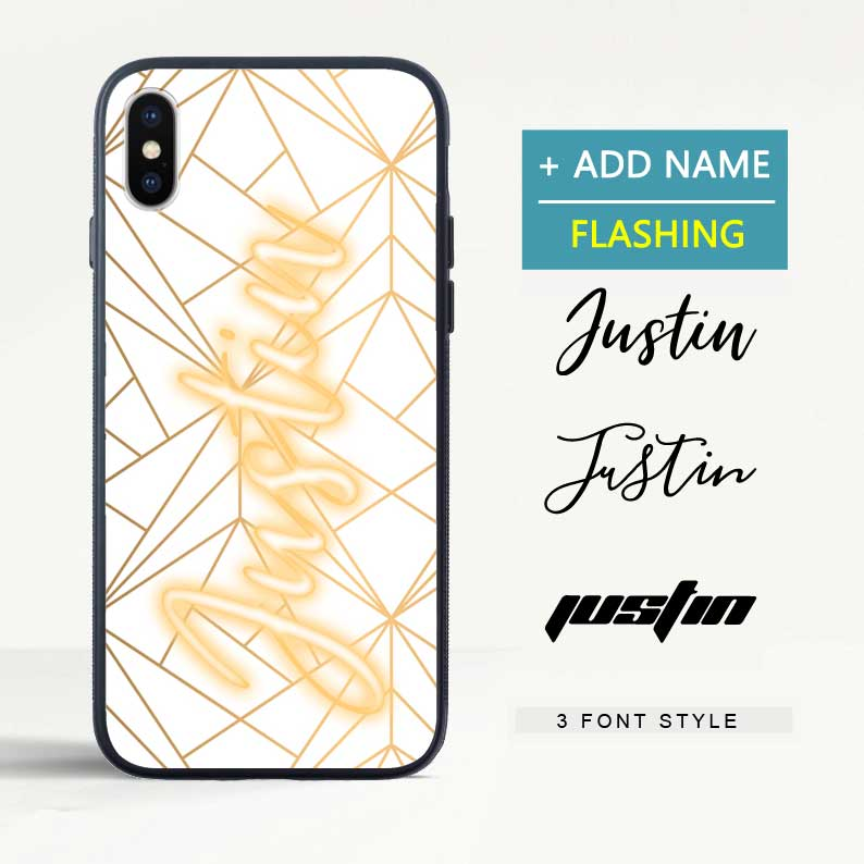 Custom Flash Led Geometric Gold Pattern iPhone Case with Name