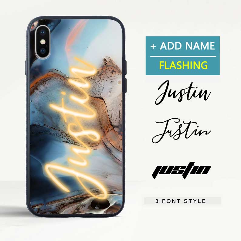 Custom Flash Led Ink Painting iPhone Case with Name