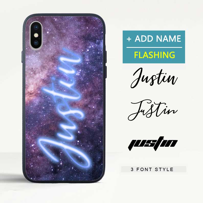 Custom Flash Led Starry Sky iPhone Case with Name
