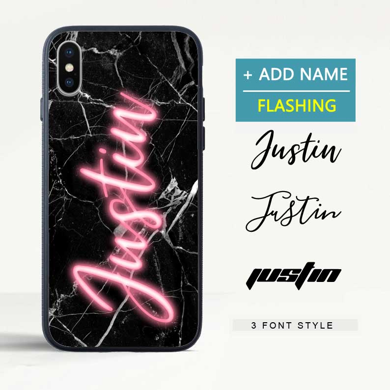 Custom Flash Led Black Marble iPhone Case with Name