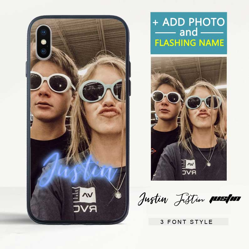 Custom Flash Led iPhone Case with Photo & Name