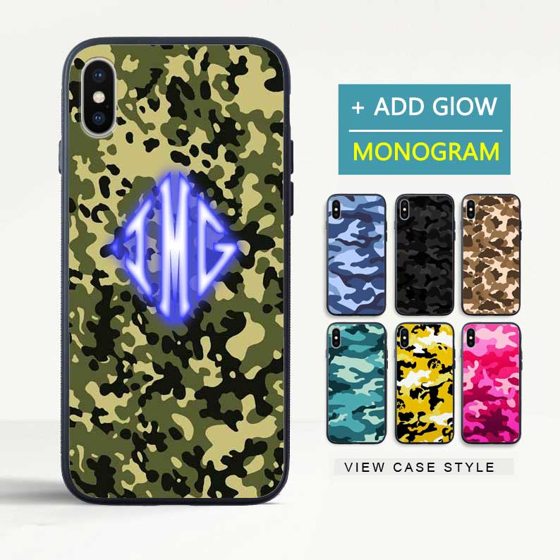 Custom Glow Diamond Monogram Camouflage iPhone Case - icreatifes