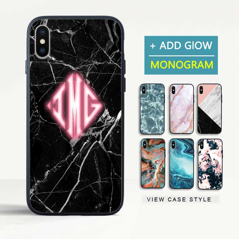 Custom Glow Diamond Monogram Marble iPhone Case - icreatifes