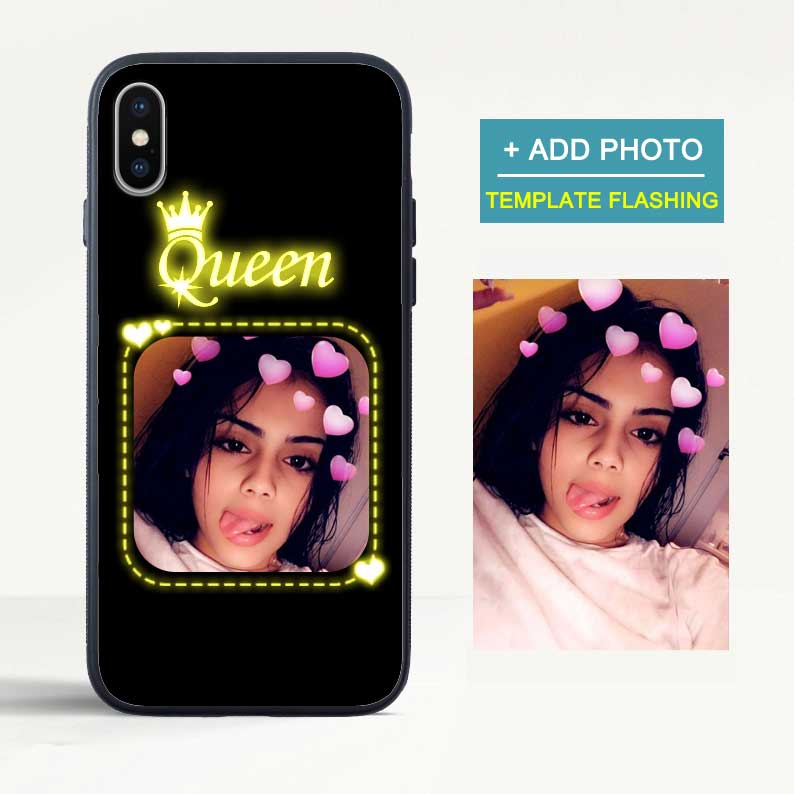 Custom Flash Led iPhone Case with Photo - Queen
