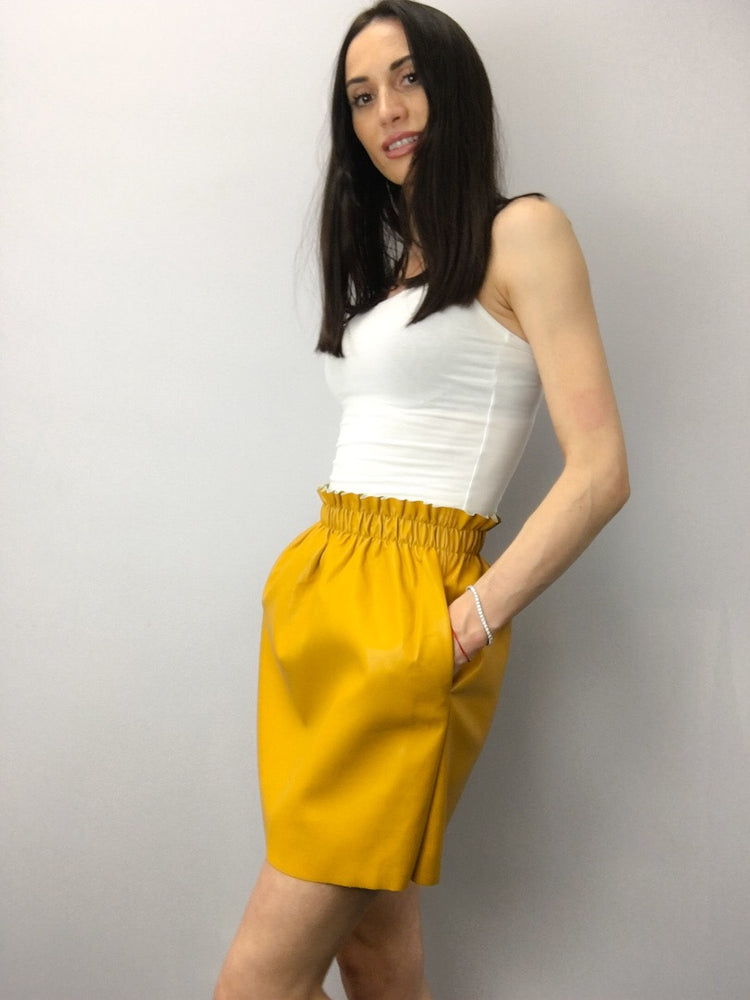 RUCHED HIGH WAIST FAUX LEATHER Electric Yellow Skirt