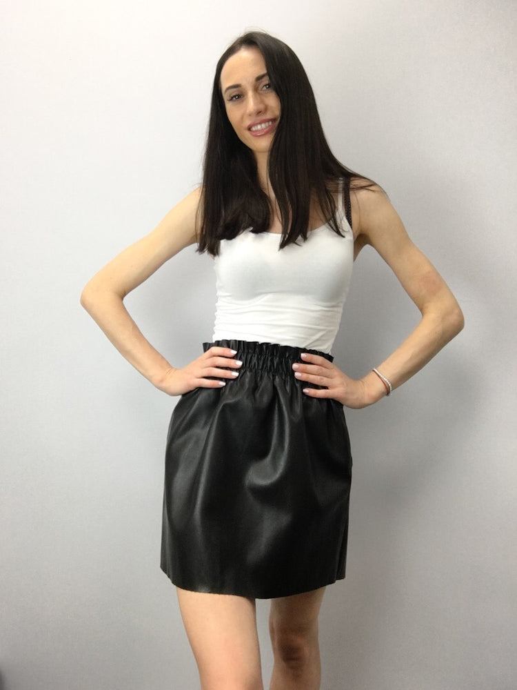 RUCHED HIGH WAIST FAUX LEATHER Black Skirt