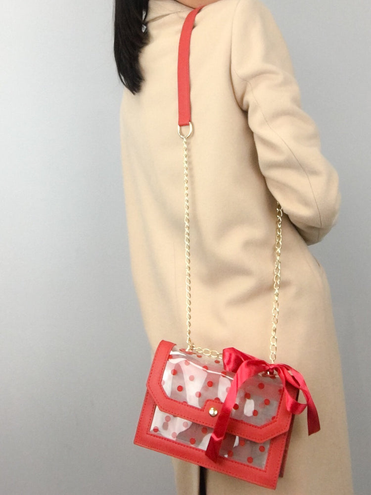CROSSBODY CLEAR DOTS Red Small Bag
