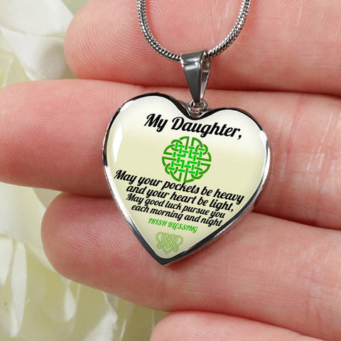 Celtic Jewelry, My Daughter Irish Blessing Heart Pendant Necklace