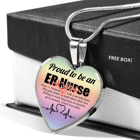 Proud To Be An ER Nurse, Personalized Heart Pendant Necklace