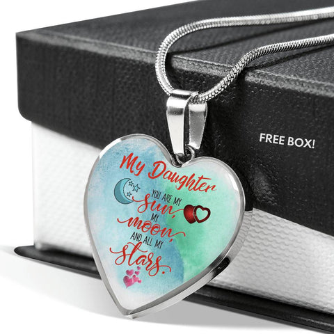 To My Daughter You Are My Sunshine Heart Pendant