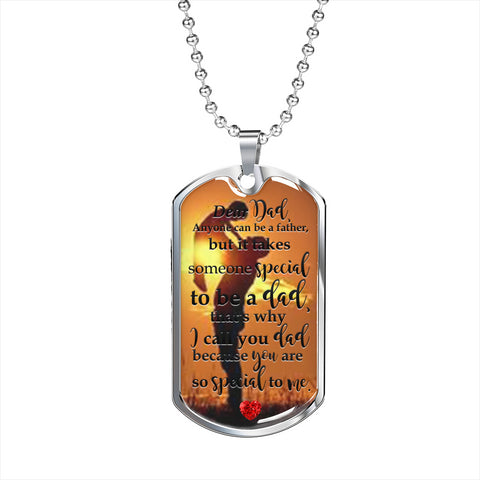 Dear Dad Bonus Dad, Stepdad Gold Filled Dog Tag