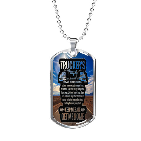 Personalized Truckers Prayer Custom Dog Tag