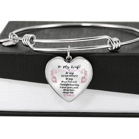 To My Wife, To My Soulmate Heart Pendant Bangle Bracelet