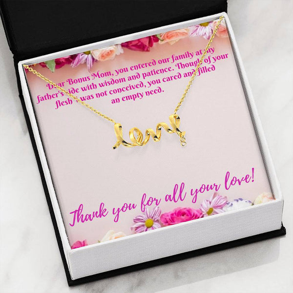 Dear Bonus Mom Thank You Scripted Love Pendant