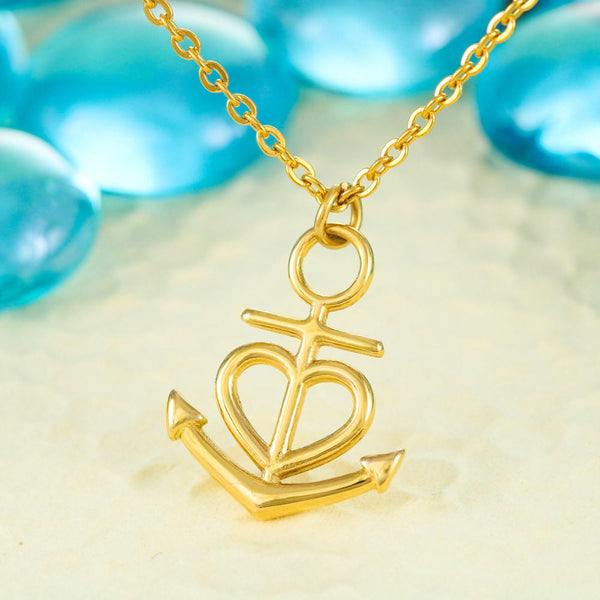 Dear Mom You Are Strong Anchor and Heart Pendant Necklace