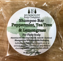 Load image into Gallery viewer, Peppermint Lemongrass Tea Tree Shampoo Bar for Flaky Scalp