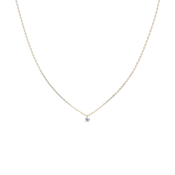 Gold Single Small Diamond Necklace - Mighty Dainty