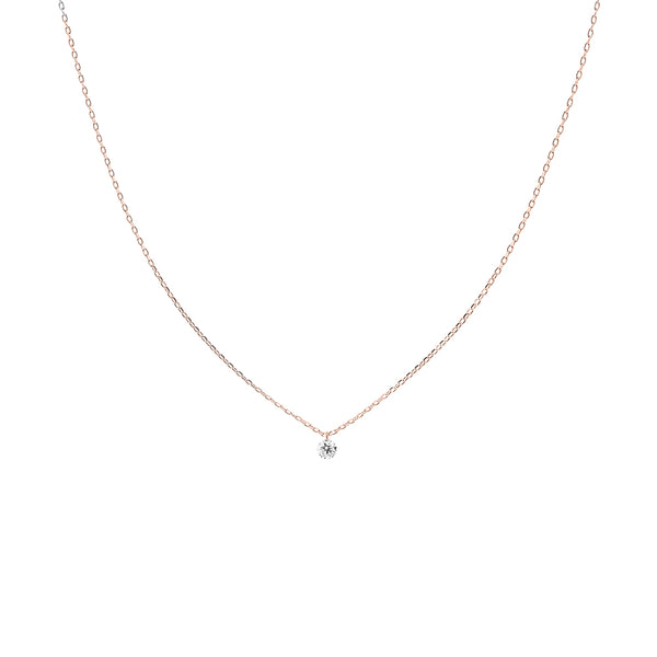 Rose Gold Single Small Diamond Necklace - Mighty Dainty