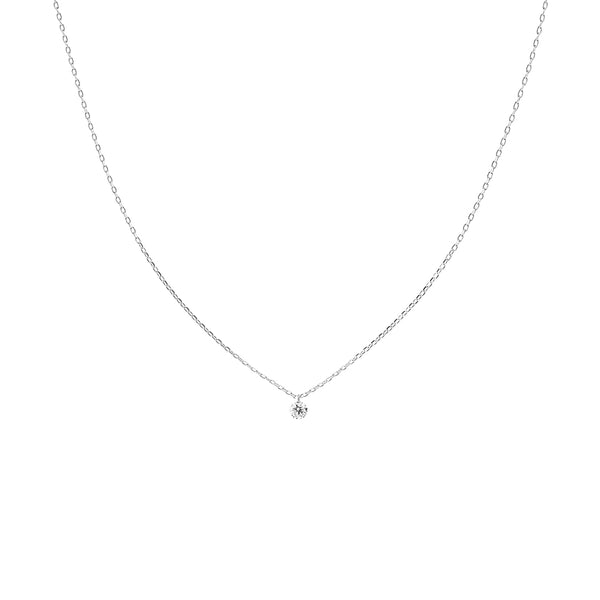White Gold Single Small Diamond Necklace