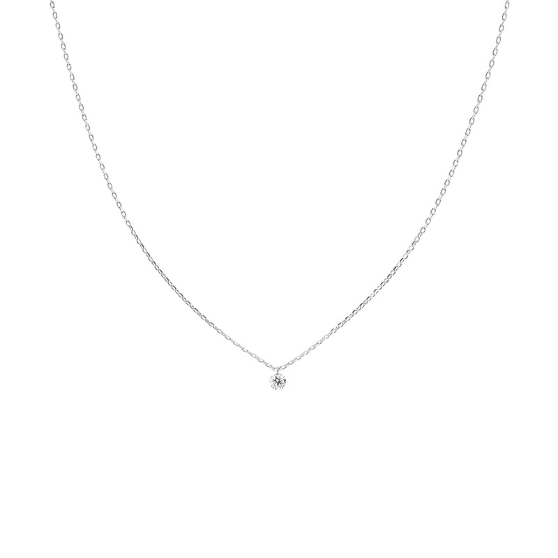 White Gold Single Small Diamond Necklace - Mighty Dainty
