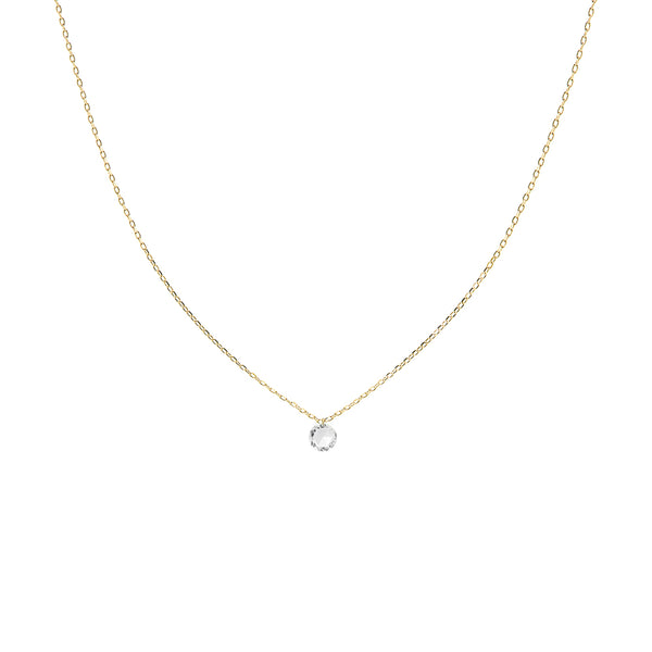Gold Single Large Diamond Necklace - Mighty Dainty