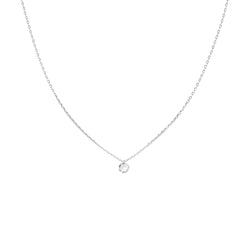 White Gold Single Large Diamond Necklace