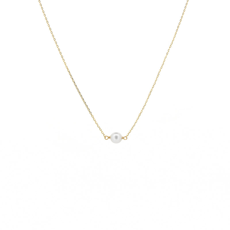 Gold Single Pearl Necklace - Mighty Dainty