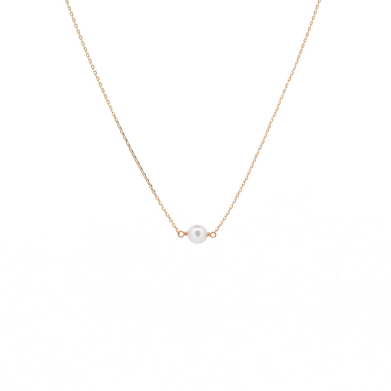 Rose Gold Single Pearl Necklace