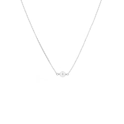White Gold Single Pearl Necklace - Mighty Dainty