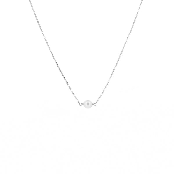 White Gold Single Pearl Necklace