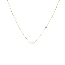 Gold Asymmetrical Diamond and Pearl Necklace