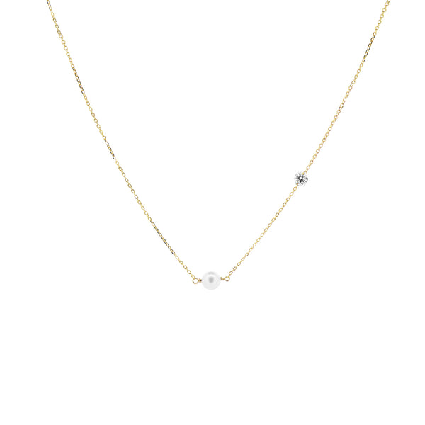 Gold Asymmetrical Diamond and Pearl Necklace - Mighty Dainty