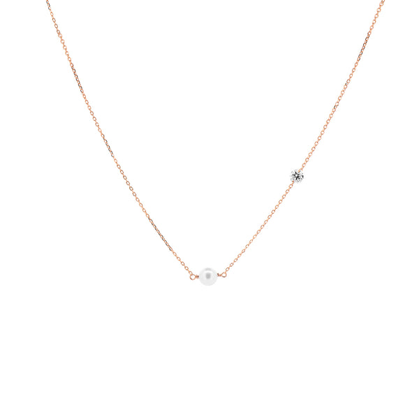 Rose Gold Asymmetrical Diamond and Pearl Necklace - Mighty Dainty