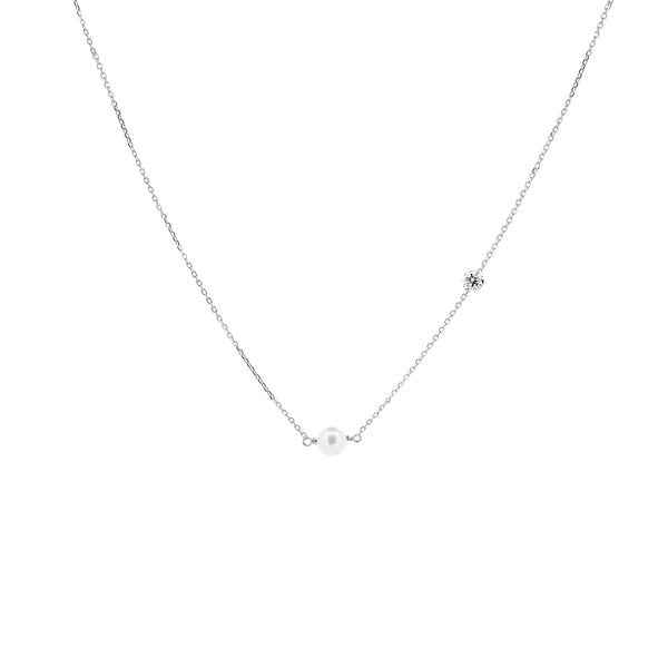 White Gold Asymmetrical Diamond and Pearl Necklace - Mighty Dainty