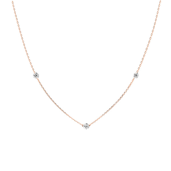 Rose Gold Three Diamonds Necklace