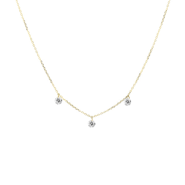 Gold Three Diamond Drop Necklace