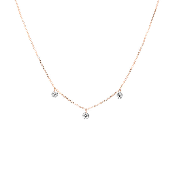 Rose Gold Three Diamond Drop Necklace - Mighty Dainty