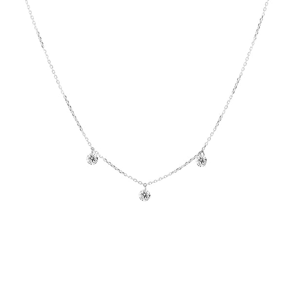 White Gold Three Diamond Drop Necklace - Mighty Dainty