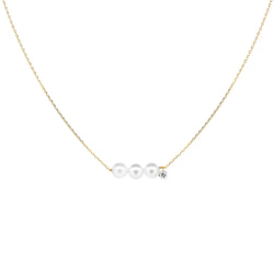 Gold Three Pearls and Diamond Necklace