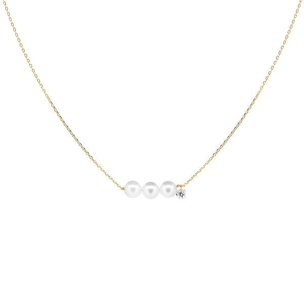 Gold Three Pearls and Diamond Necklace - Mighty Dainty