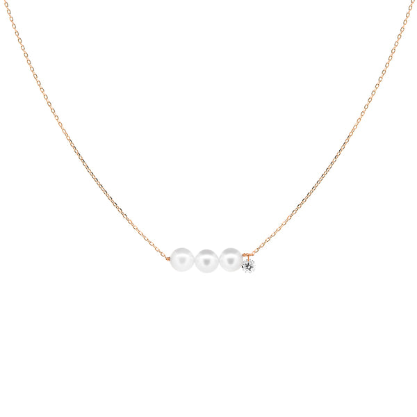 Rose Gold Three Pearls and Diamond Necklace - Mighty Dainty