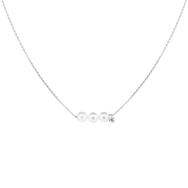 White Gold Three Pearls and Diamond Necklace - Mighty Dainty