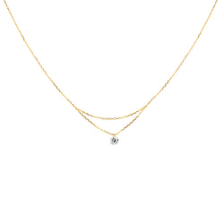 16'' Gold Single Diamond Layered Necklace