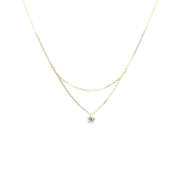 18'' Gold Single Diamond Layered Necklace